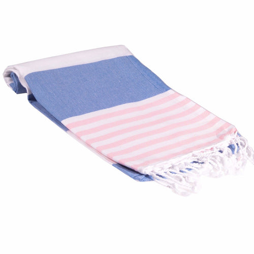 Turkish Towel- Soft Blue and Pink