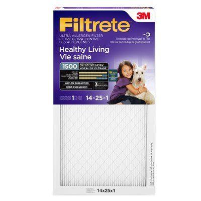 3M Filtrete 14 x 25 x 1 MPR 1500. Case of 6.