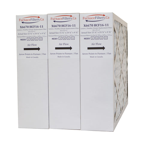 "X6670 MERV 10 Lennox 16x25x5 Furnace Filters. Actual Size 15 3/4"" x 24 3/4"" x 4 3/8."" Package of 3"