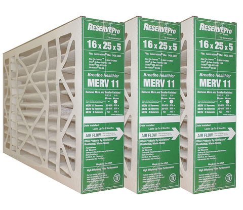 "RESERVEPro 16x25x5 GF #4511 / Mac 1400  MERV 11. Actual Size 15 5/8"" X 24 3/16"" X 4 15/16"". Package of 3"