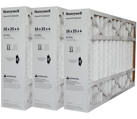 "Honeywell Model # FC100A1029 Genuine Original 16 x 25 x 4 3/8 MERV 11. Actual Size 15 15/16"" x 24 7/8"" x 4 3/8"". Package of 3."