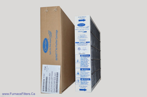 Carrier Part No. GAPCCCAR1625. Genuine 16x25 Air Purifier Cartridge. Case of 1