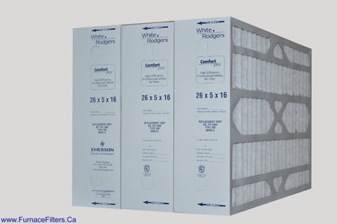 White-Rogers Part # FR1400 Type100 Replacement Filter 16x26x5. Case of 3