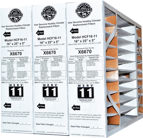 "Lennox X6670 MERV 11 16x25x5 Genuine Original Furnace Filter for HCF16-11. Actual Size is 15 3/4"" x 24 3/4""x 4 3/8"" Package of 3."