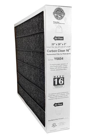 Lennox Y6604 Furnace Filter 20x26x5 Healthy Climate MERV 16 PureAir PCO3-20-16. Package of 1