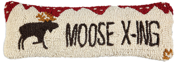 Hooked Pillow - Moose X-ing