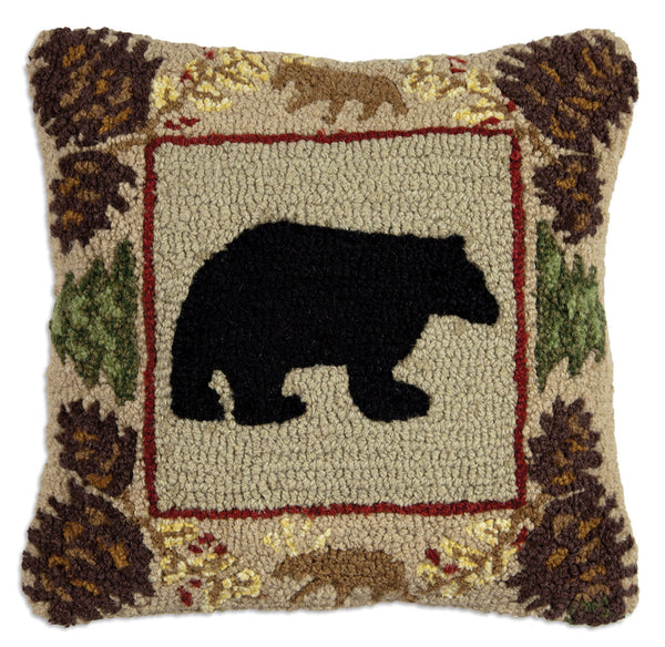 Hooked Pillow - Northwoods Bear