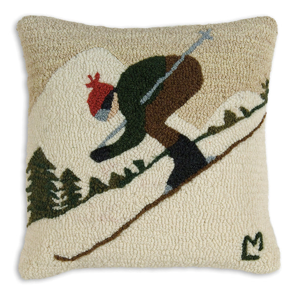 Hooked Pillow - Downhill Skier
