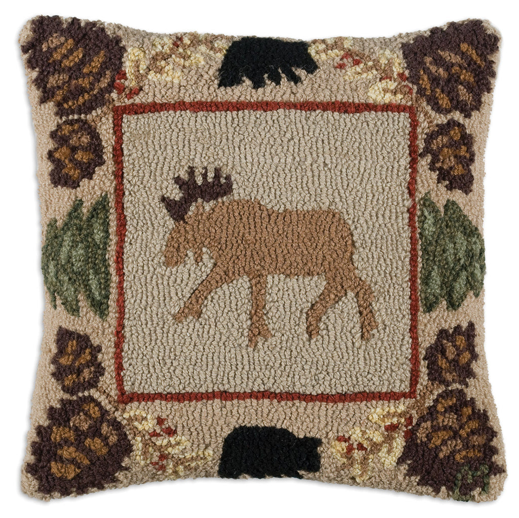 Hooked Pillow - Northwoods Moose