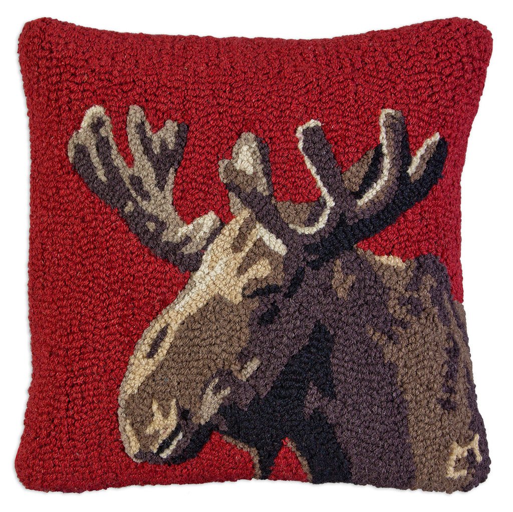 Hooked Pillow - Velvet Moose On Red
