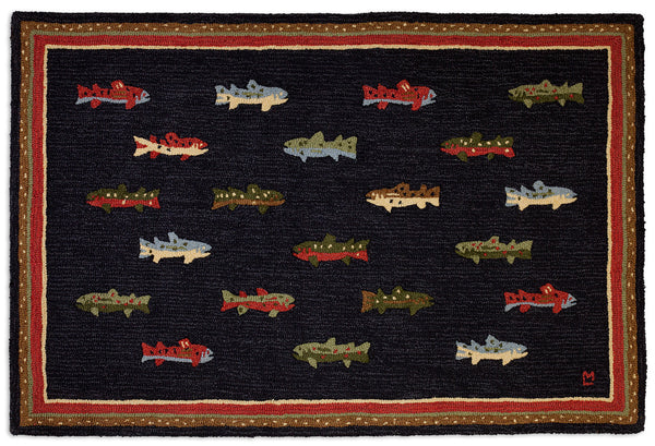 Hooked Rug 4' x 6' - River Fish