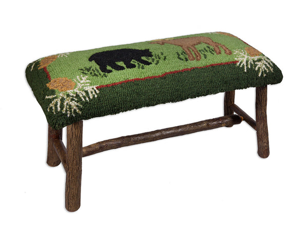 "Hooked Top Hickory Bench 32""  - Bear & Moose"