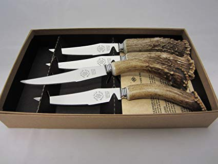 STEAK KNIFE SET REAL ANTLER HANDLES