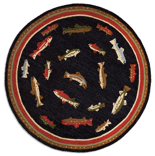 Hooked Rug 5' Round - River Fish