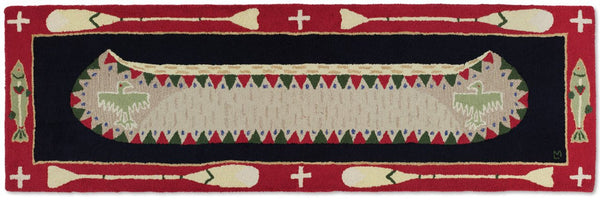 "Hooked Runner Rug 30"" x 8' - Long Red Canoe"