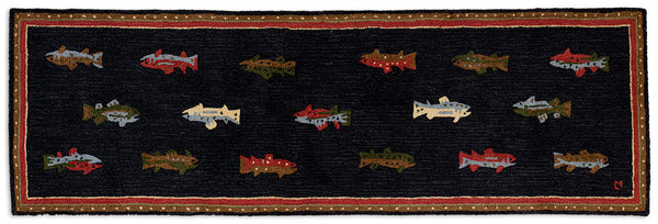 "Hooked Runner Rug 30"" x 8' - River Fish"