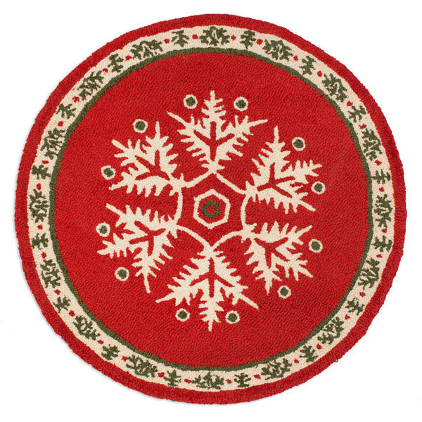 Hooked Rug 3' Round - Falling Flakes