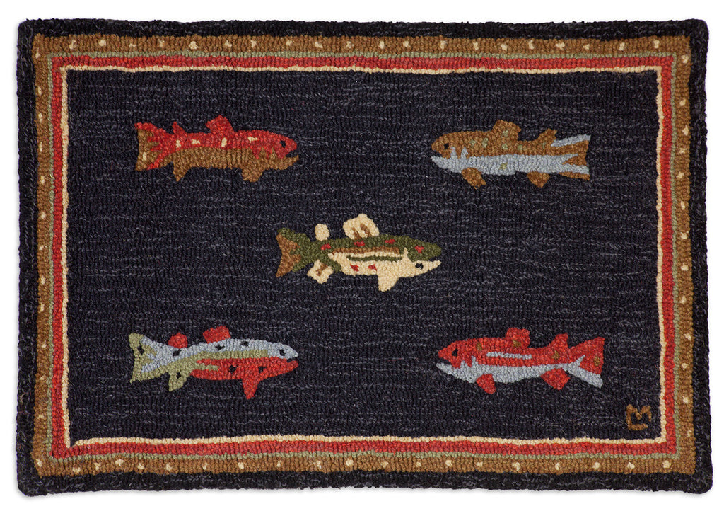 Hooked Rug 2' x 3' - River Fish