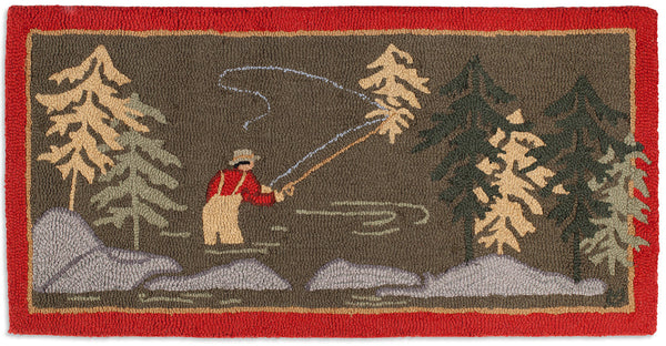 Hooked Rug 2' x 4' - Fly Fisherman