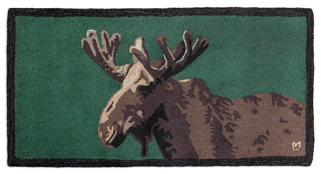 Hooked Rug 2' x 4' - Moose In Velvet On Green
