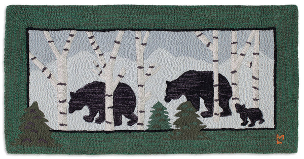 Hooked Rug 2' x 4' - Three Bears In Birch Woods