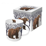 Set of 4 Winter Forest Animal Mugs, Moose, Bear, Fox and Owl.