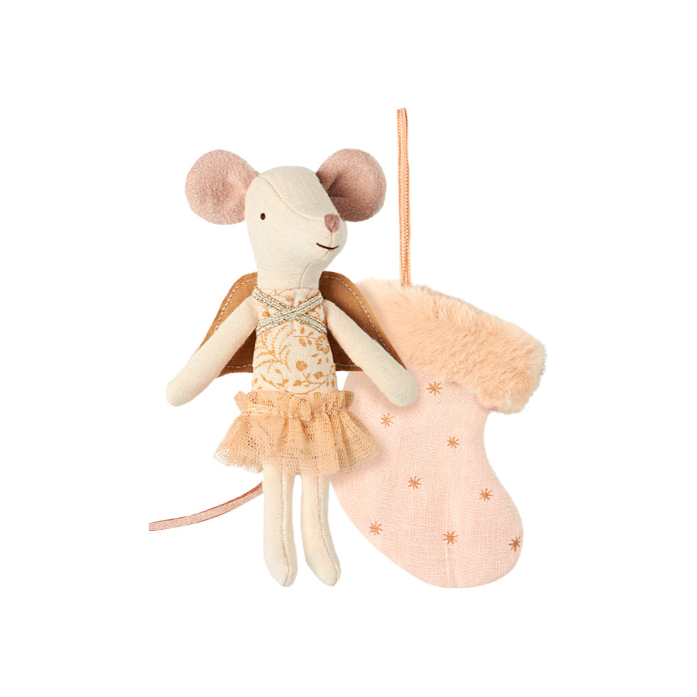 Maileg Mouse Angel with Stocking Pink