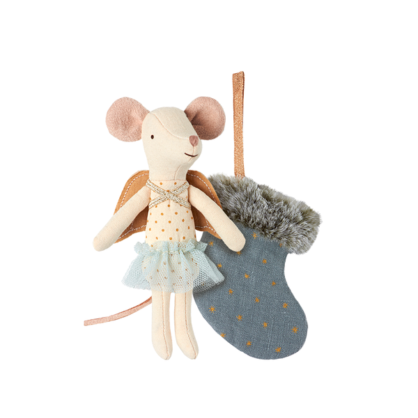 Maileg Mouse Angel with Stocking Blue