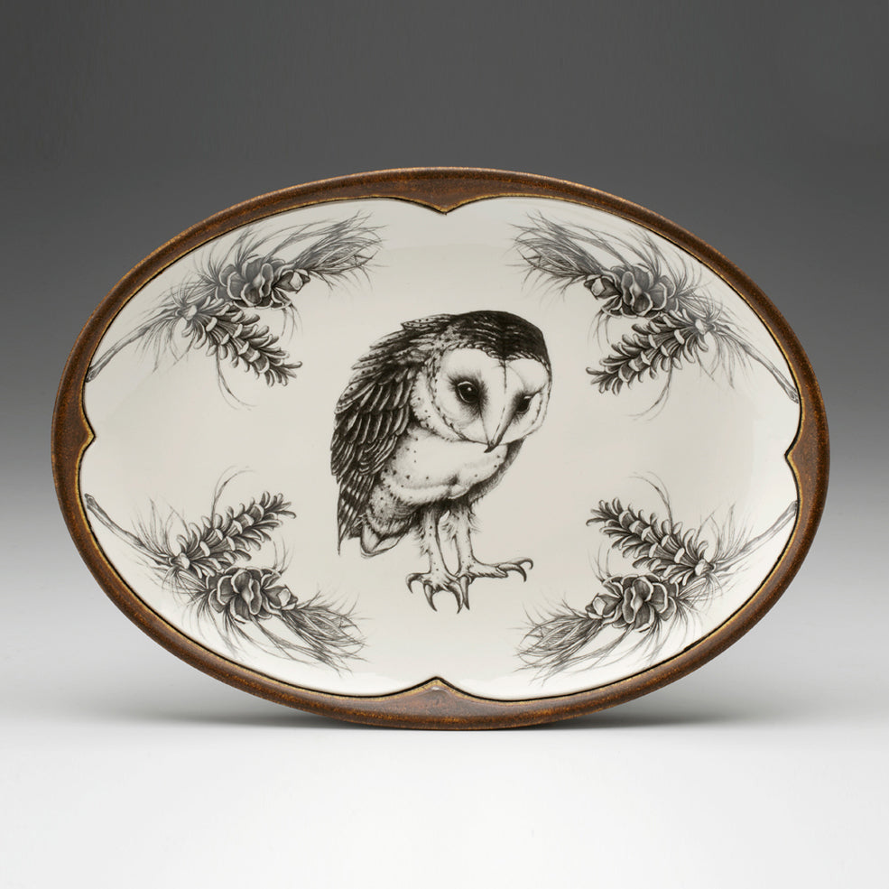 Laura Zindel Design - Small Oval Platter Barn Owl