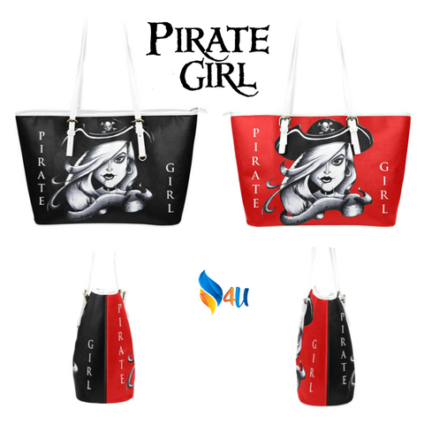 Leather Tote Bag Pirate Girl Two-Sided Black & Red Color Ltd Edition D403064