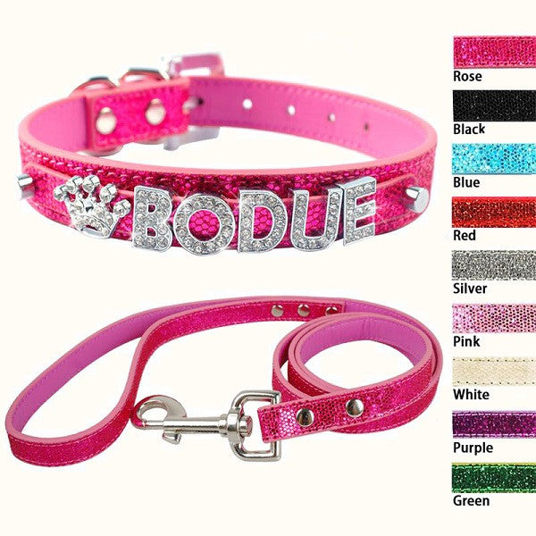 Bling Pet Dog Collar And Leash Lead Rhinestone Customized