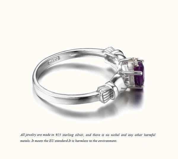 February Birthstone Amethyst Irish Ring 925 Sterling Silver