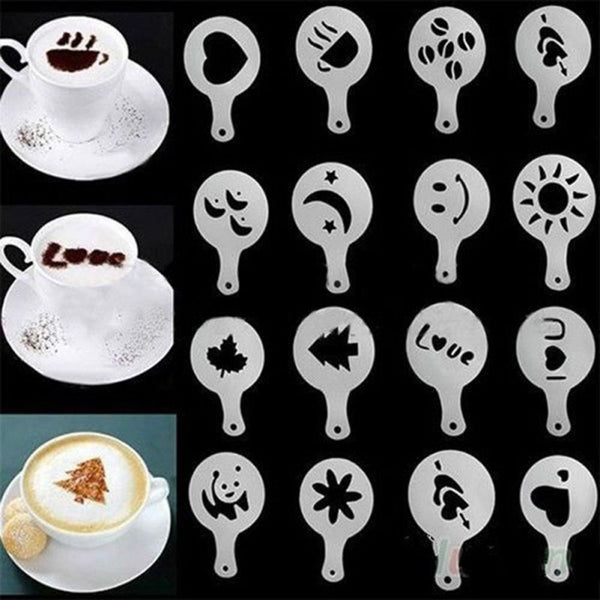 Coffee Template Barista Stencils Decoration Tool 16Pcs