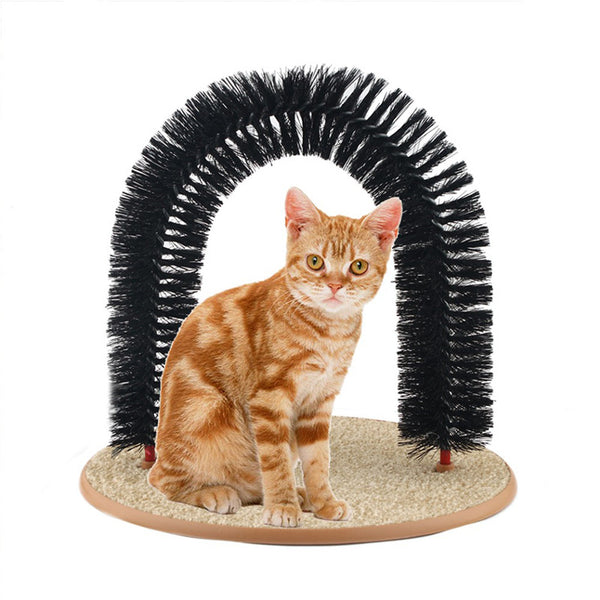 Cat Self Groomer With Round Fleece Base