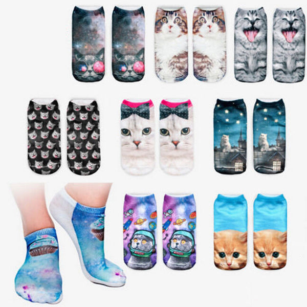 Girls 3D Print Cat Women Socks