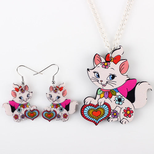 Set Cat Pendant Drop Earrings - Free Shipping