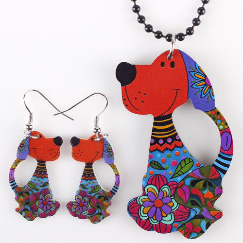 Sets Dog Pendant Dangle Earrings AcrylicPattern - Free Shipping