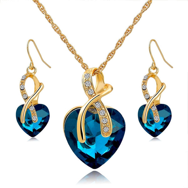 Gift! Gold Plated Jewelry Crystal Heart Necklace Earrings Set