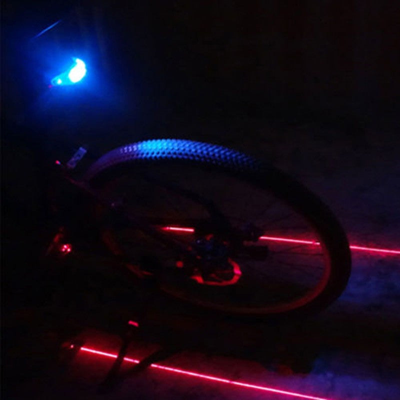 Blue LED + Laser Bean Cycling Tail Rear Light Safety Warning Lamp