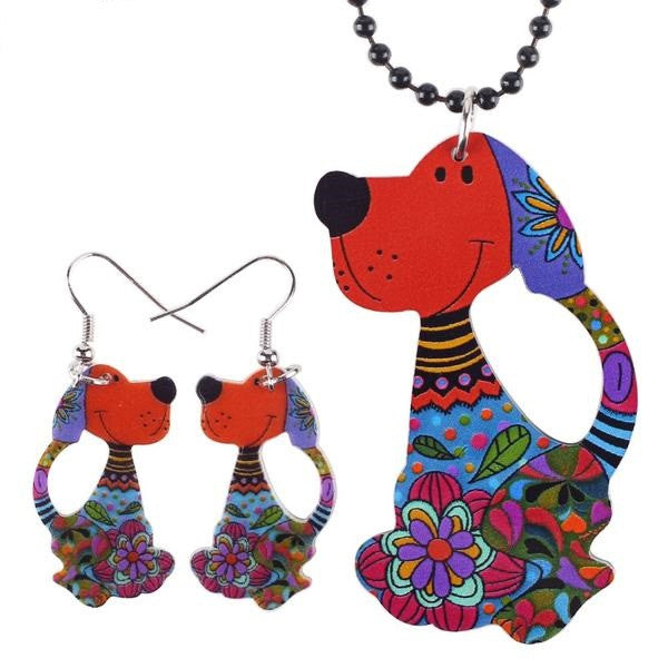 Sets Dog Pendant Dangle Earrings AcrylicPattern