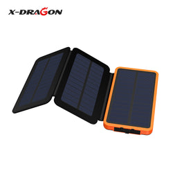X-Dragon Foldable Portable 10000mAh Solar Power Bank Solar Panel Charger for iPhone Samsung HTC Huawei Xiaomi and more.