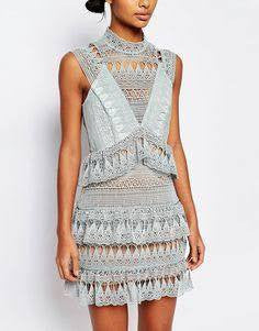Mint teardrop Guipure lace Dress