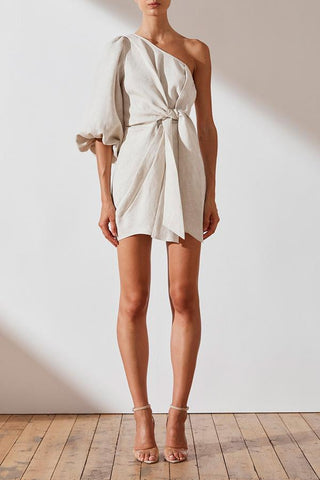 St Martin Linen One Shoulder Mini Dress- Natural