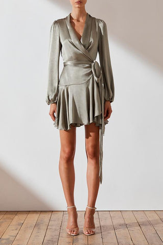 Joan Wrap Mini Dress- Sage