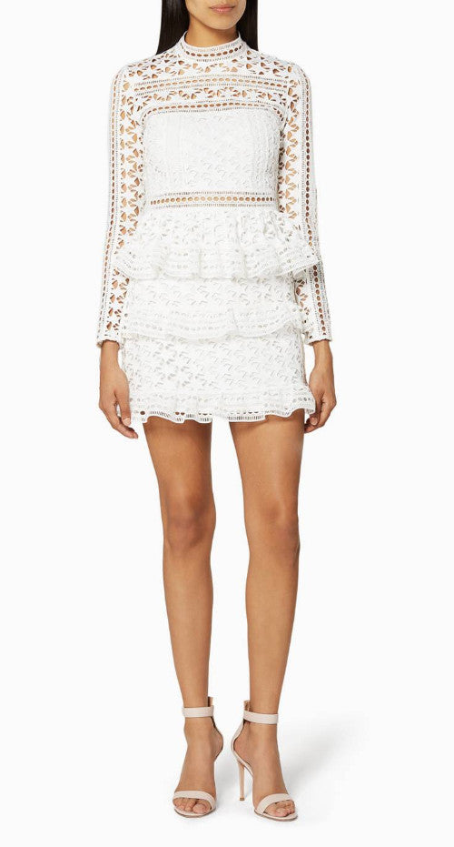 21c6f318fced Self-Portrait - High neck star lace panelled dress