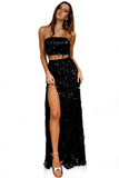 Embellished Noir Two Piece Gown