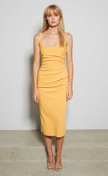 Karina Tuck Midi Dress - Tangerine