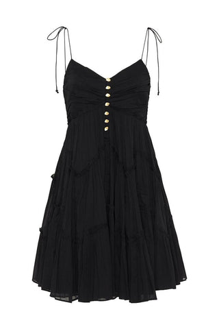 Mimosa Tiered Mini Dress Black