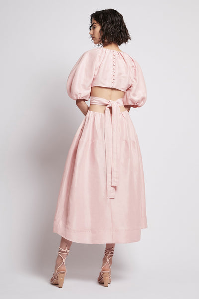 Mimosa Cut Out Midi Dress in Hanami