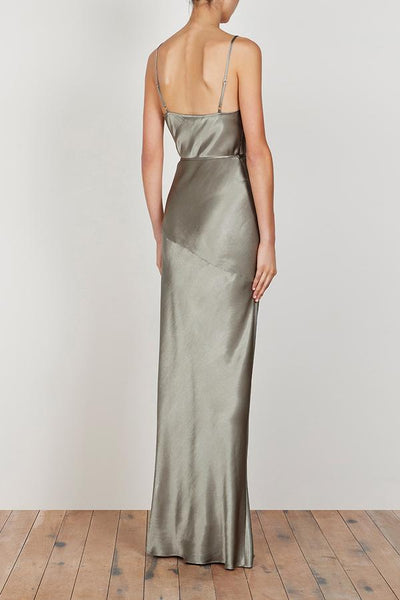La Lune Bias Cowl Maxi Dress with split - Sage